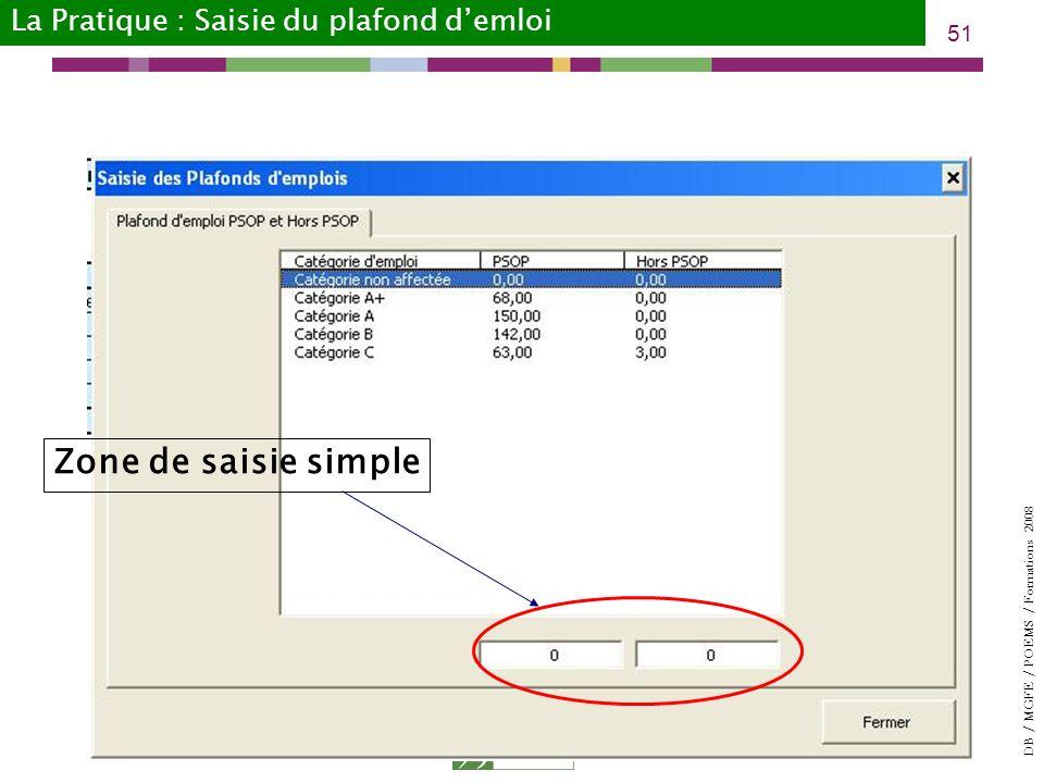 DB / MGFE / POEMS / Formations 2008 51 Zone de saisie simple La Pratique : Saisie du plafond demloi