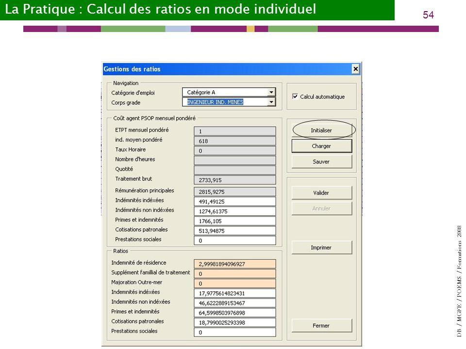 DB / MGFE / POEMS / Formations 2008 54 La Pratique : Calcul des ratios en mode individuel
