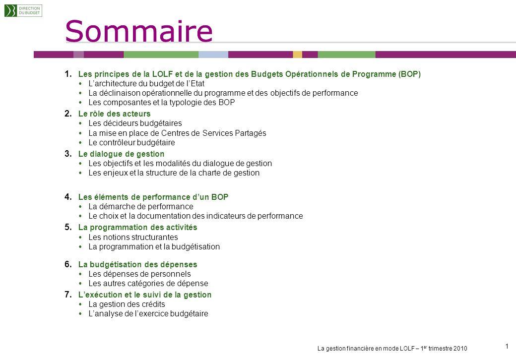 Sommaire La gestion financière en mode LOLF – 1 er trimestre 2010 1 1 1.