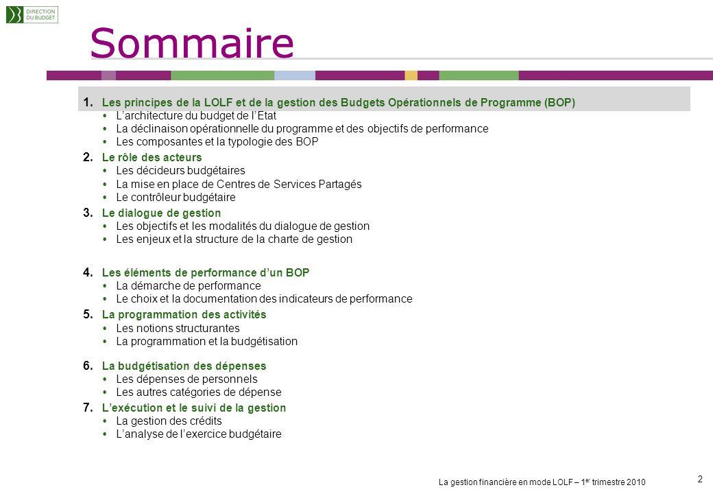 La gestion financière en mode LOLF – 1 er trimestre 2010 2 2 1.