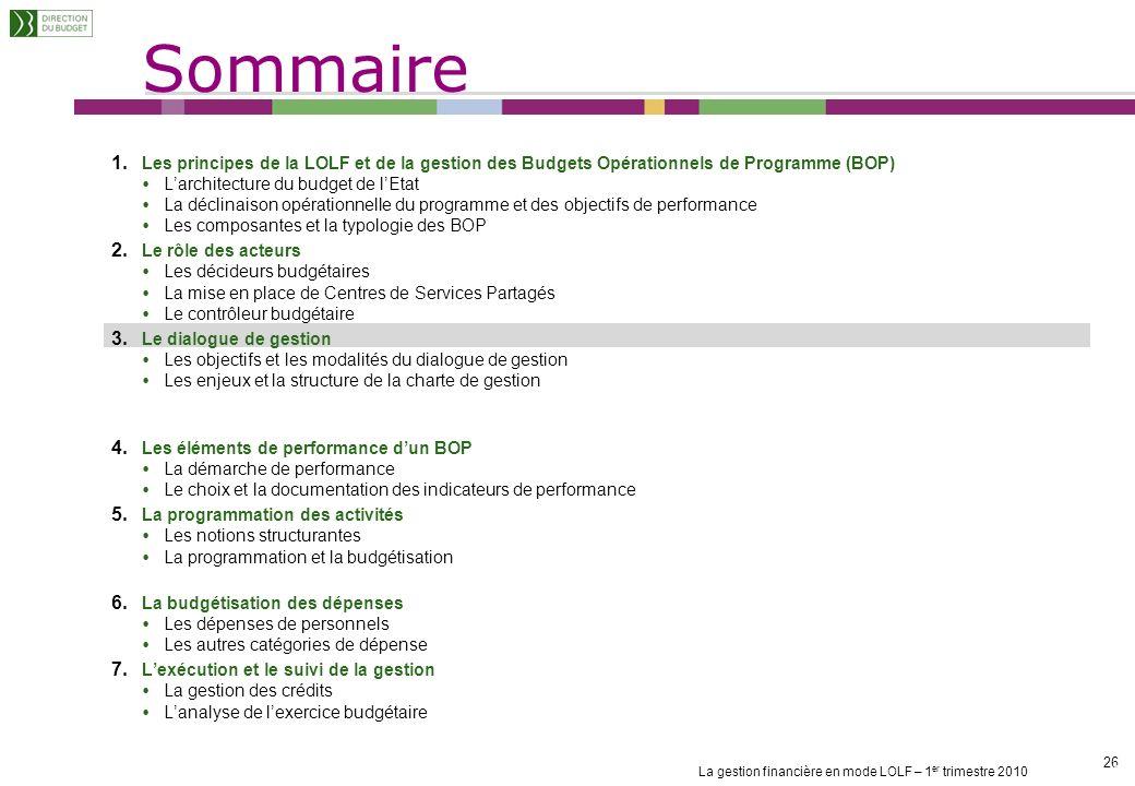 La gestion financière en mode LOLF – 1 er trimestre 2010 25 Lautorité chargée du contrôle financier vise le BOP Lautorité chargée du contrôle financie
