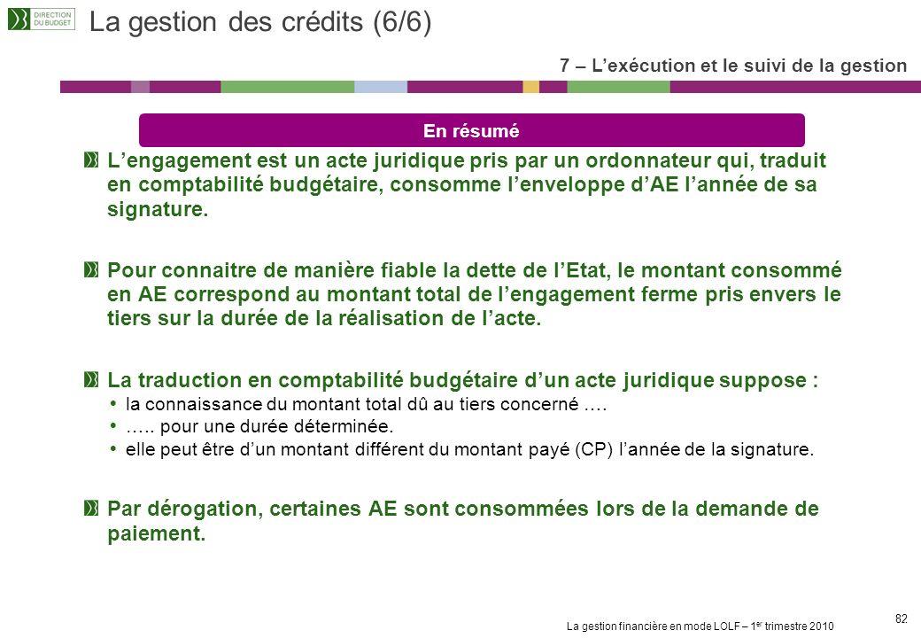 La gestion financière en mode LOLF – 1 er trimestre 2010 81 La prise en compte de lexécution pour examiner la soutenabilité budgétaire ARTICLE 6 DU DE