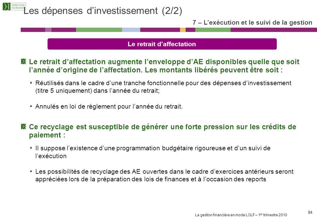 La gestion financière en mode LOLF – 1 er trimestre 2010 83 Les dépenses dinvestissement (1/2) Laffectation Laffectation assure le caractère fonctionn