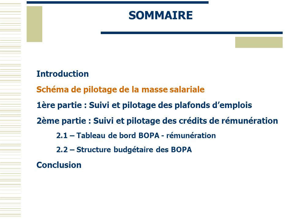 Introduction Schéma de pilotage de la masse salariale 1ère partie : Suivi et pilotage des plafonds demplois 2ème partie : Suivi et pilotage des crédit