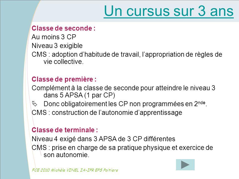 Un cursus sur 3 ans FCE 2010 Michèle VINEL IA-IPR EPS Poitiers Classe de seconde : Au moins 3 CP Niveau 3 exigible CMS : adoption dhabitude de travail