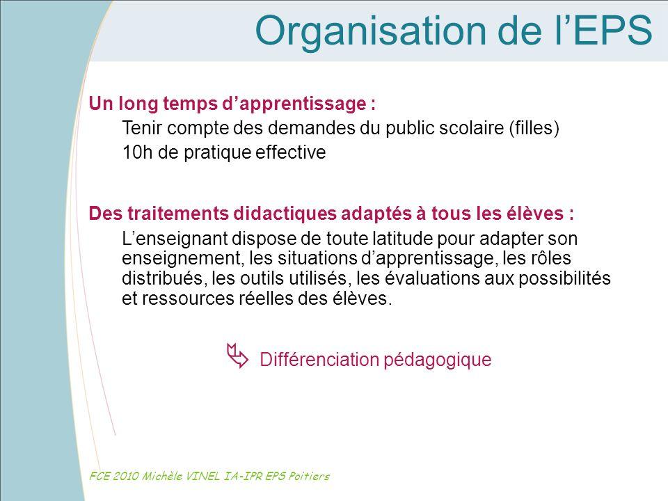 Organisation de lEPS FCE 2010 Michèle VINEL IA-IPR EPS Poitiers Un long temps dapprentissage : Tenir compte des demandes du public scolaire (filles) 1