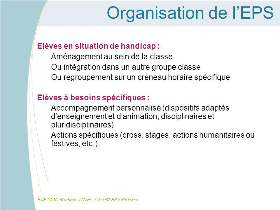 Organisation de lEPS FCE 2010 Michèle VINEL IA-IPR EPS Poitiers Elèves en situation de handicap : Aménagement au sein de la classe Ou intégration dans
