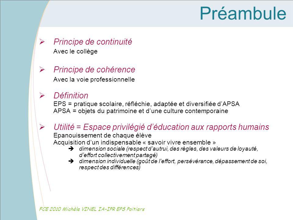 Préambule Principe de continuité Avec le collège Principe de cohérence Avec la voie professionnelle Définition EPS = pratique scolaire, réfléchie, ada