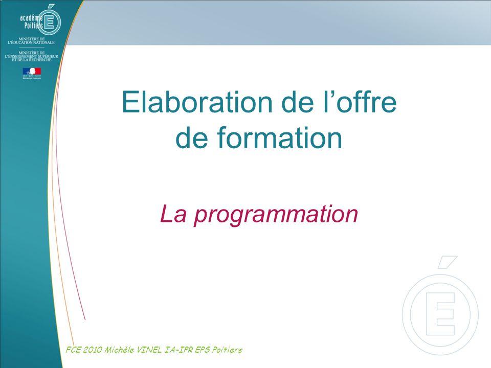Elaboration de loffre de formation La programmation FCE 2010 Michèle VINEL IA-IPR EPS Poitiers