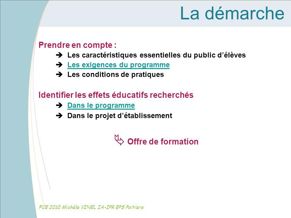 La démarche FCE 2010 Michèle VINEL IA-IPR EPS Poitiers Prendre en compte : Les caractéristiques essentielles du public délèves Les exigences du progra