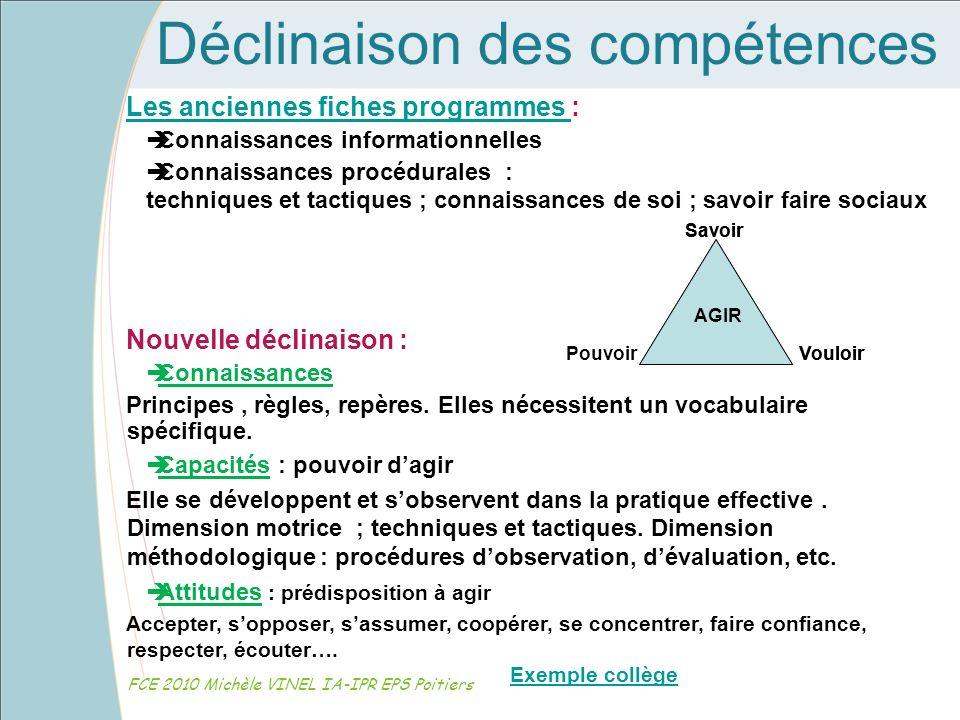 Déclinaison des compétences FCE 2010 Michèle VINEL IA-IPR EPS Poitiers Les anciennes fiches programmes Les anciennes fiches programmes : Connaissances