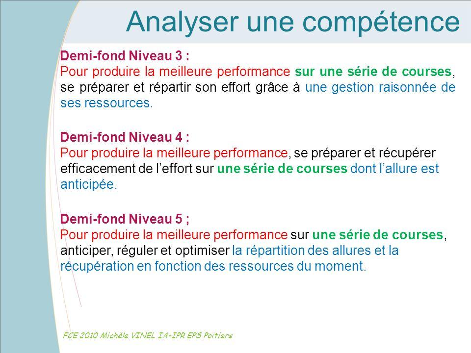 Analyser une compétence FCE 2010 Michèle VINEL IA-IPR EPS Poitiers Demi-fond Niveau 3 : Pour produire la meilleure performance sur une série de course