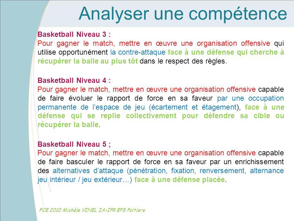 Analyser une compétence FCE 2010 Michèle VINEL IA-IPR EPS Poitiers Basketball Niveau 3 : Pour gagner le match, mettre en œuvre une organisation offens