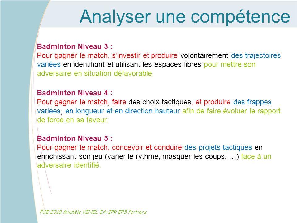 Analyser une compétence FCE 2010 Michèle VINEL IA-IPR EPS Poitiers Badminton Niveau 3 : Pour gagner le match, sinvestir et produire volontairement des