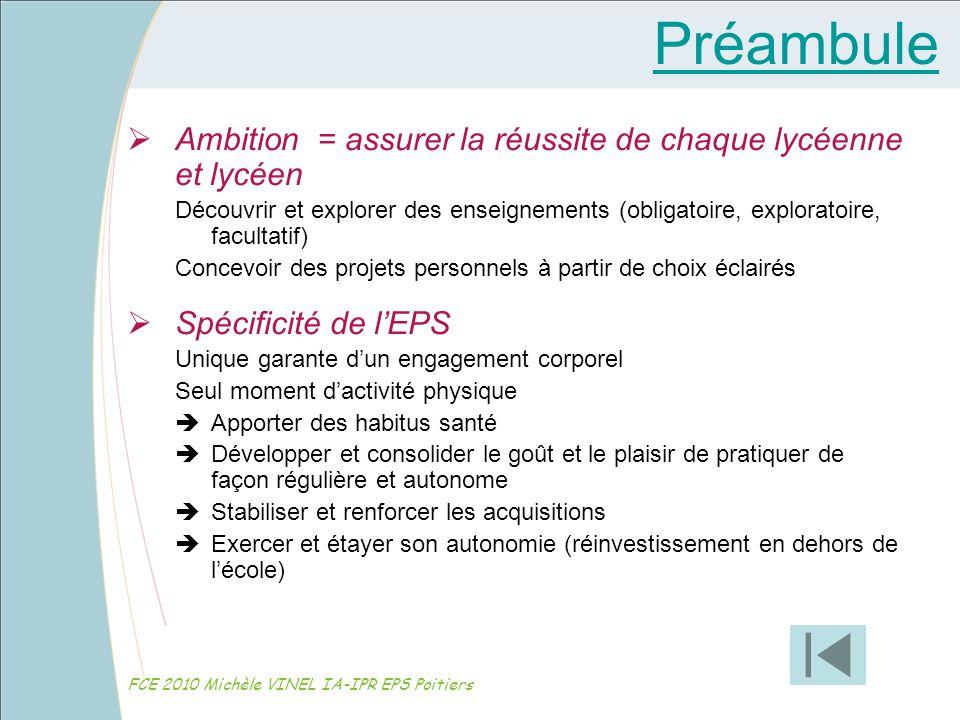 Organisation de lEPS FCE 2010 Michèle VINEL IA-IPR EPS Poitiers Les conditions denseignement : Les exigences structurelles ne sont pas un privilège.