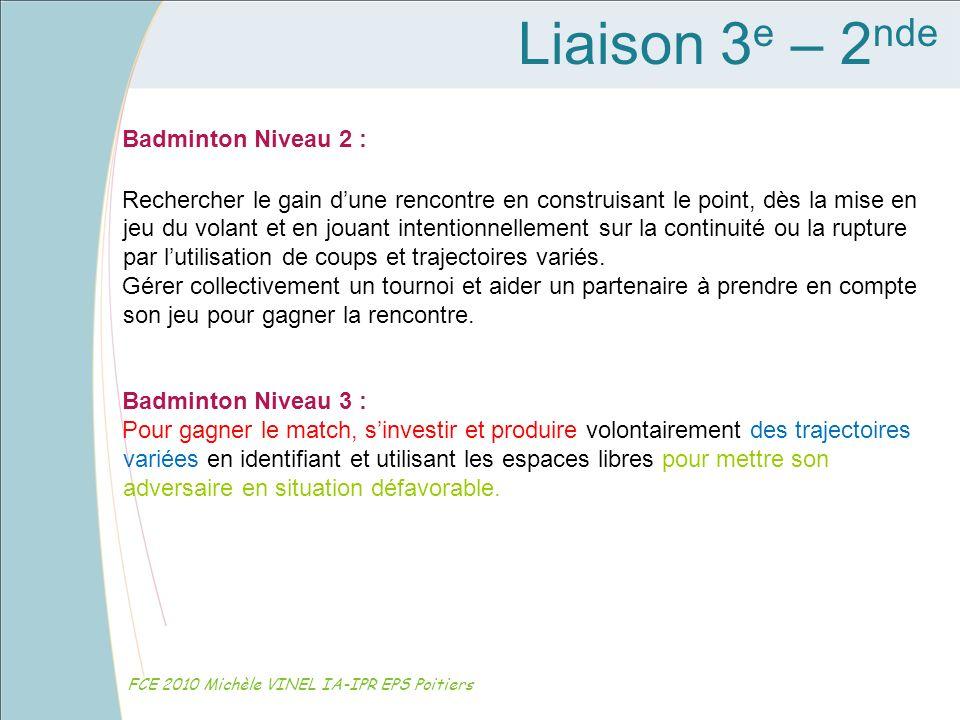 Liaison 3 e – 2 nde FCE 2010 Michèle VINEL IA-IPR EPS Poitiers Badminton Niveau 2 : Rechercher le gain dune rencontre en construisant le point, dès la