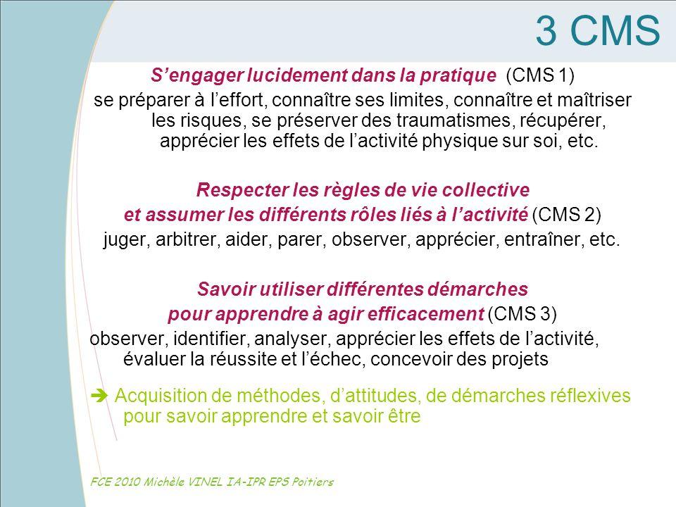 3 CMS Sengager lucidement dans la pratique (CMS 1) se préparer à leffort, connaître ses limites, connaître et maîtriser les risques, se préserver des