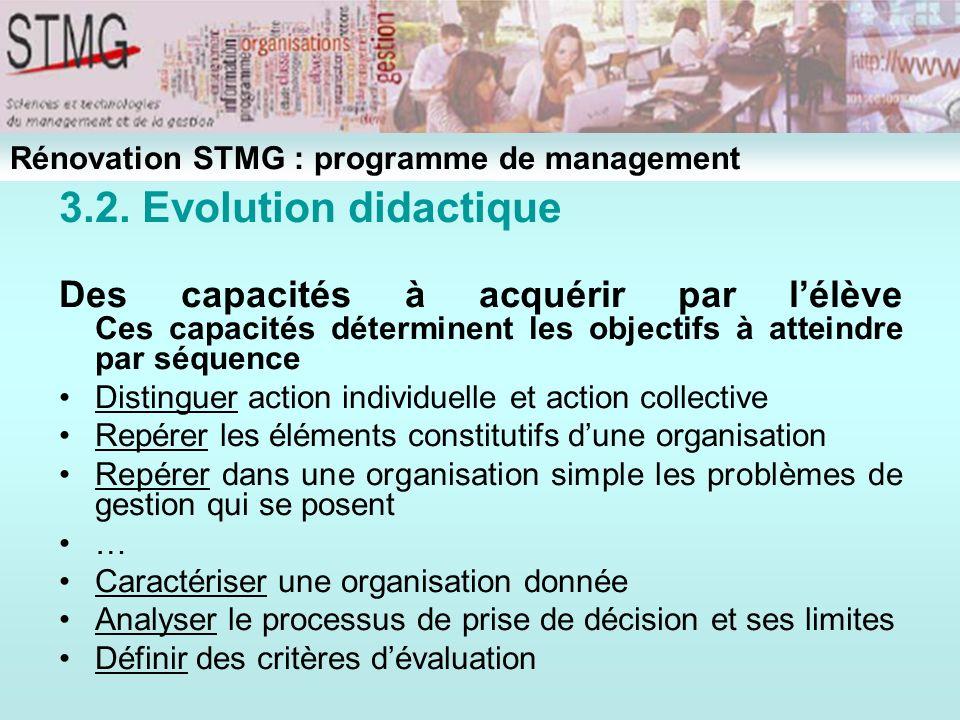 3.2. Evolution didactique Des capacités à acquérir par lélève Ces capacités déterminent les objectifs à atteindre par séquence Distinguer action indiv