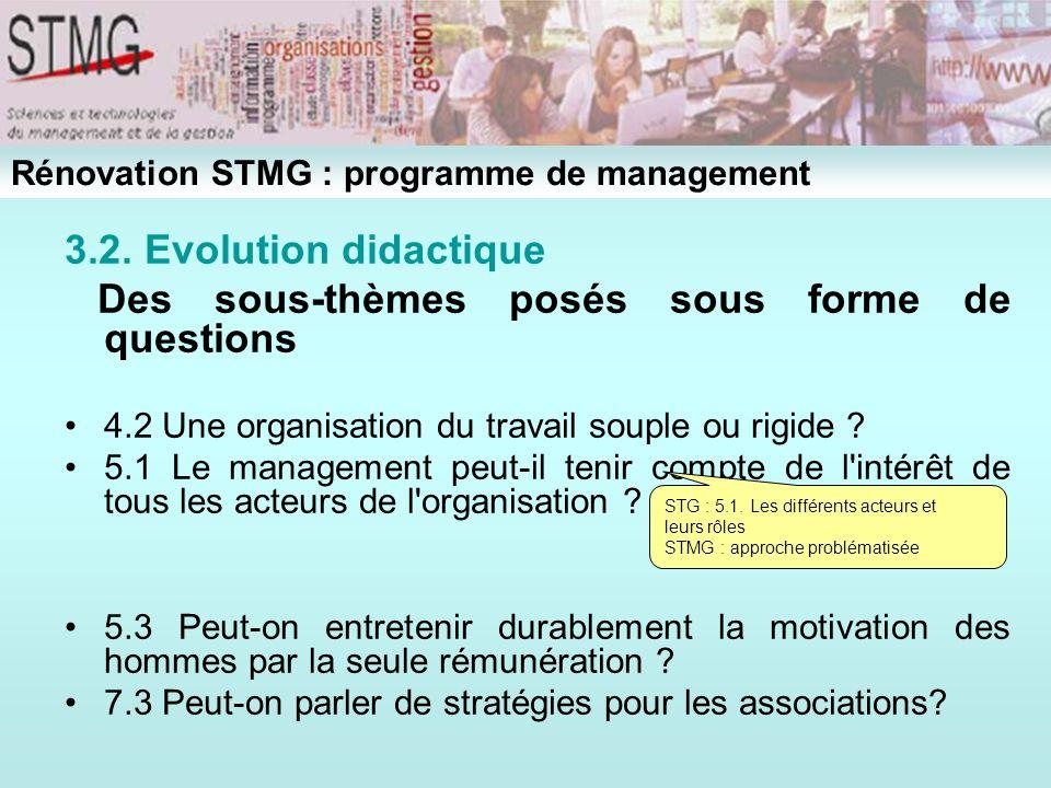 3.2. Evolution didactique Des sous-thèmes posés sous forme de questions 4.2 Une organisation du travail souple ou rigide ? 5.1 Le management peut-il t
