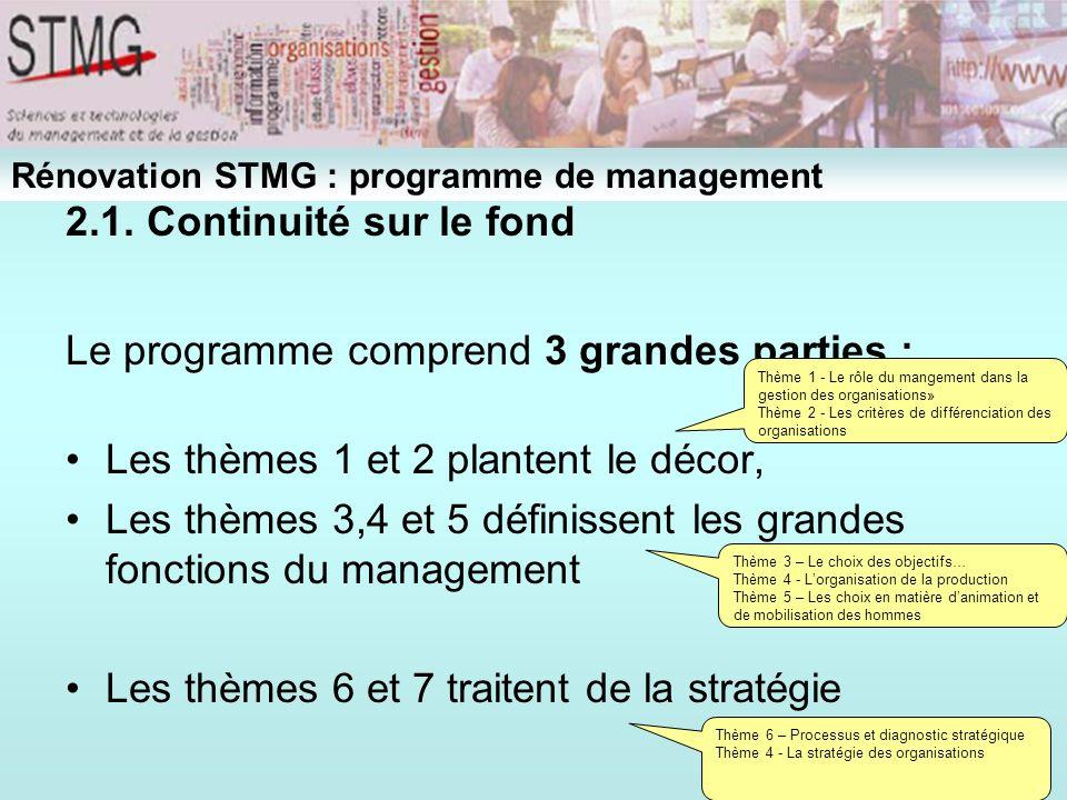 2.1. Continuité sur le fond Le programme comprend 3 grandes parties : Les thèmes 1 et 2 plantent le décor, Les thèmes 3,4 et 5 définissent les grandes