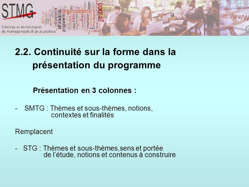 2.2. Continuité sur la forme dans la présentation du programme Présentation en 3 colonnes : -SMTG : Thèmes et sous-thèmes, notions, contextes et final