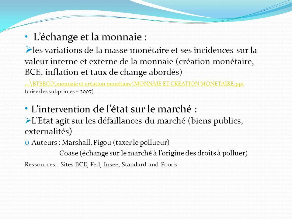 Léchange et la monnaie : les variations de la masse monétaire et ses incidences sur la valeur interne et externe de la monnaie (création monétaire, BC