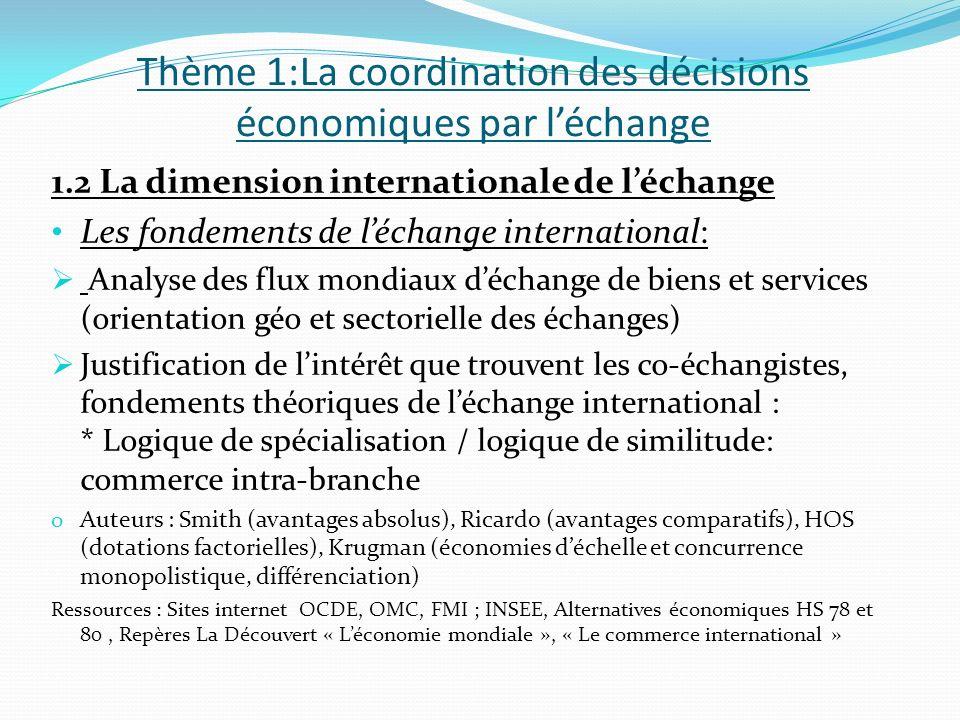 Thème 1:La coordination des décisions économiques par léchange 1.2 La dimension internationale de léchange Les fondements de léchange international: A