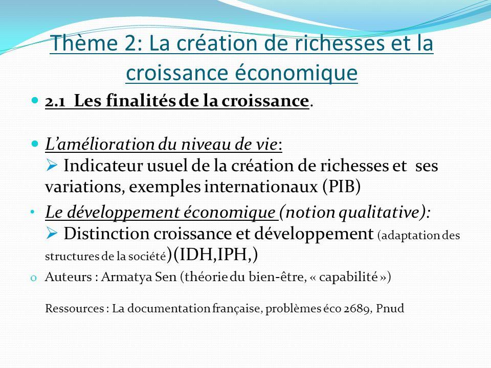 Thème 2: La création de richesses et la croissance économique 2.1 Les finalités de la croissance. Lamélioration du niveau de vie: Indicateur usuel de