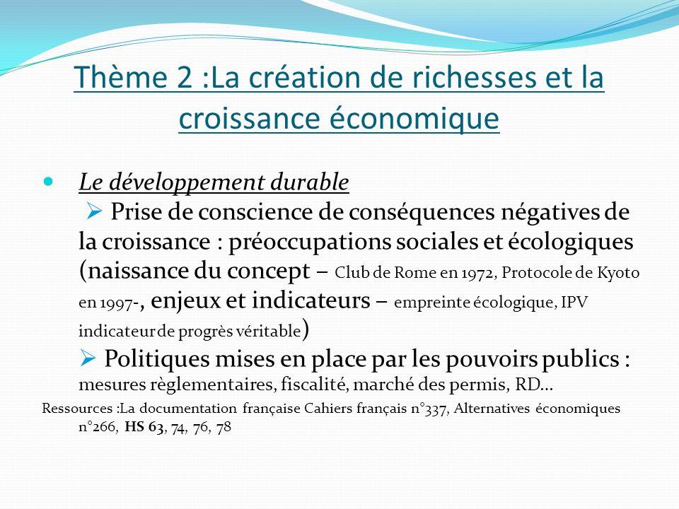 Thème 2 :La création de richesses et la croissance économique Le développement durable Prise de conscience de conséquences négatives de la croissance