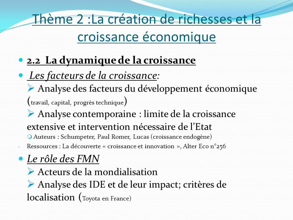 Thème 2 :La création de richesses et la croissance économique 2.2 La dynamique de la croissance Les facteurs de la croissance: Analyse des facteurs du
