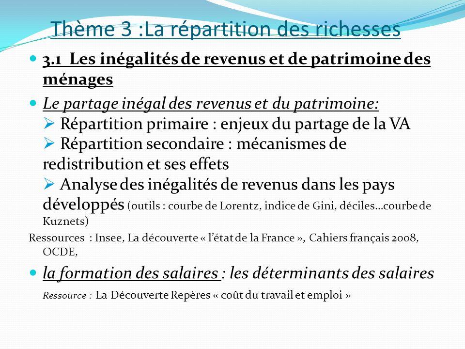 Thème 3 :La répartition des richesses 3.1 Les inégalités de revenus et de patrimoine des ménages Le partage inégal des revenus et du patrimoine: Répar