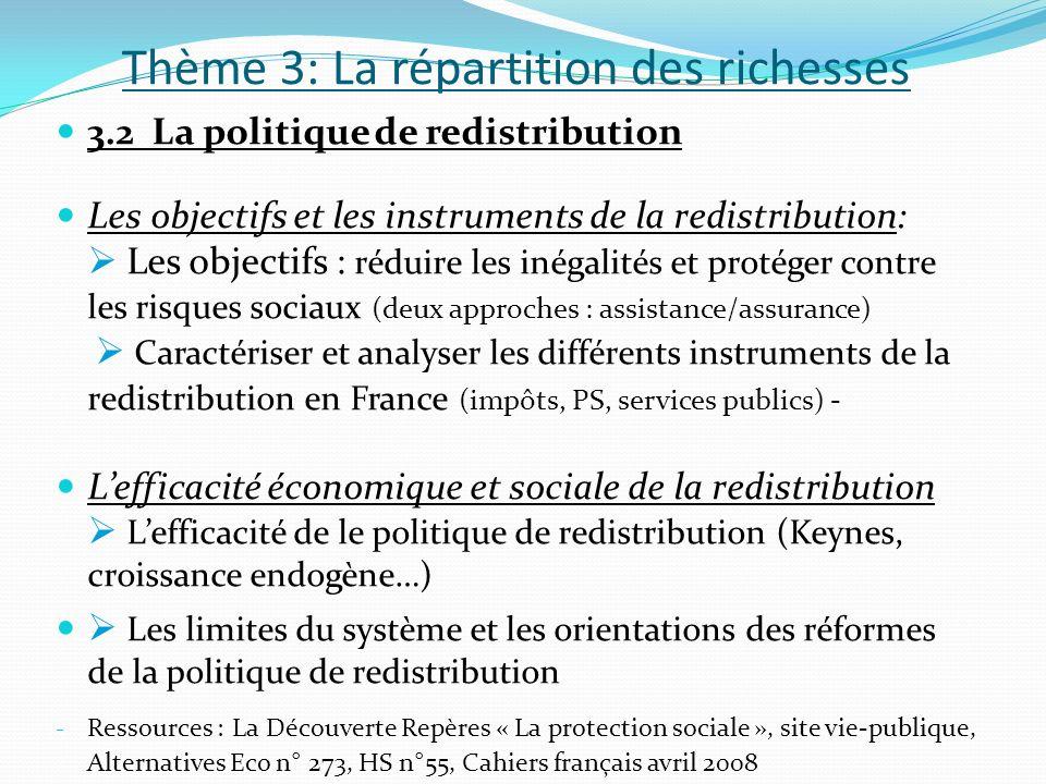 Thème 3: La répartition des richesses 3.2 La politique de redistribution Les objectifs et les instruments de la redistribution: Les objectifs : réduir