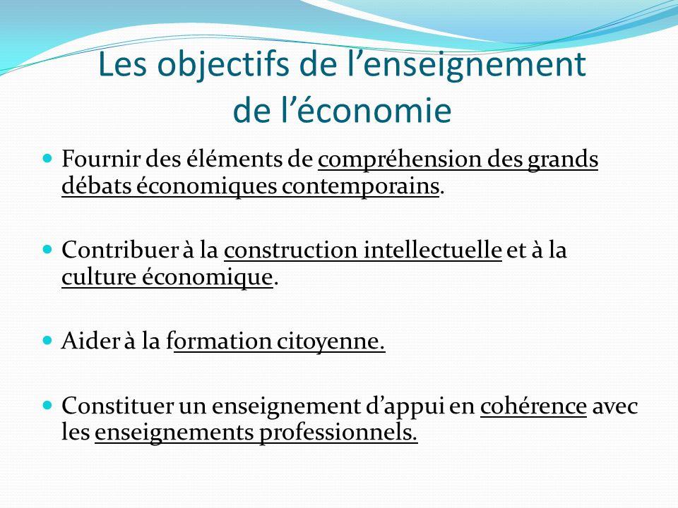 Les objectifs de lenseignement de léconomie Fournir des éléments de compréhension des grands débats économiques contemporains. Contribuer à la constru