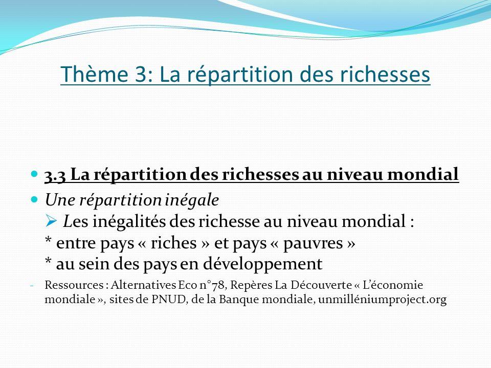 Thème 3: La répartition des richesses 3.3 La répartition des richesses au niveau mondial Une répartition inégale Les inégalités des richesse au niveau