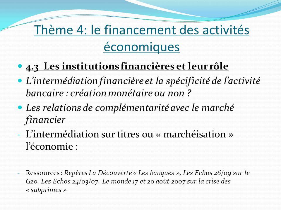 Thème 4: le financement des activités économiques 4.3 Les institutions financières et leur rôle Lintermédiation financière et la spécificité de lactiv