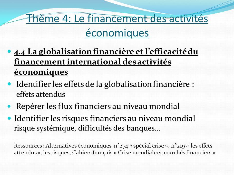 T hème 4: Le financement des activités économiques 4.4 La globalisation financière et lefficacité du financement international des activités économiqu