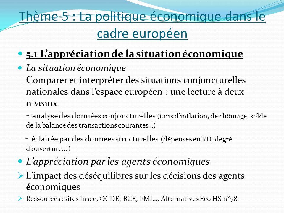 Thème 5 : La politique économique dans le cadre européen 5.1 Lappréciation de la situation économique La situation économique C omparer et interpréter
