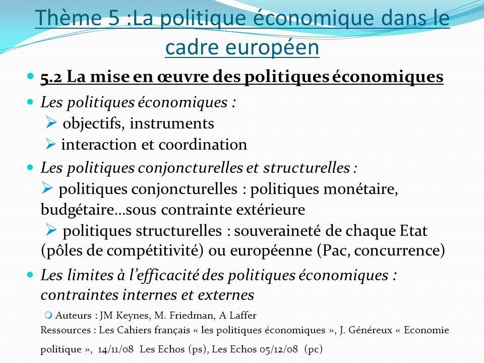 Thème 5 :La politique économique dans le cadre européen 5.2 La mise en œuvre des politiques économiques Les politiques économiques : objectifs, instru