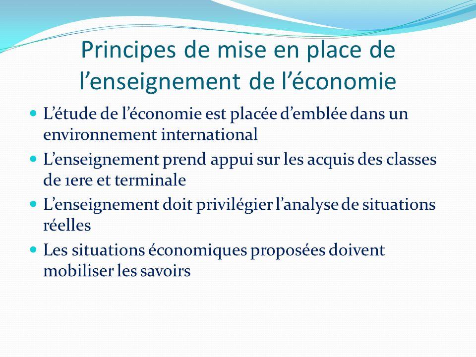 Principes de mise en place de lenseignement de léconomie Létude de léconomie est placée demblée dans un environnement international Lenseignement pren