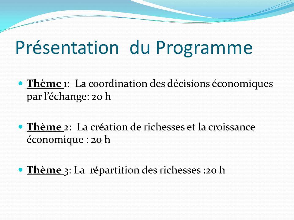 Présentation du Programme Thème 1: La coordination des décisions économiques par léchange: 20 h Thème 2: La création de richesses et la croissance éco