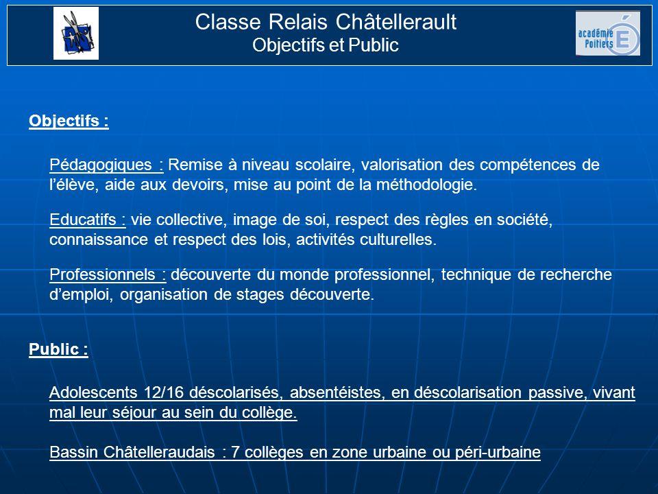 Classe Relais Châtellerault Objectifs et Public 17 jeunes accueillis.