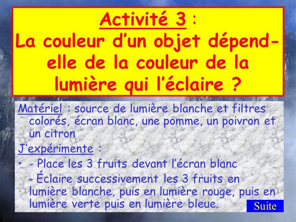 Activité 2 : La couleur de la balle Eclairée en lumière bleue, une balle paraît grise ; éclairée en lumière rouge, elle paraît rouge ; éclairée en lum