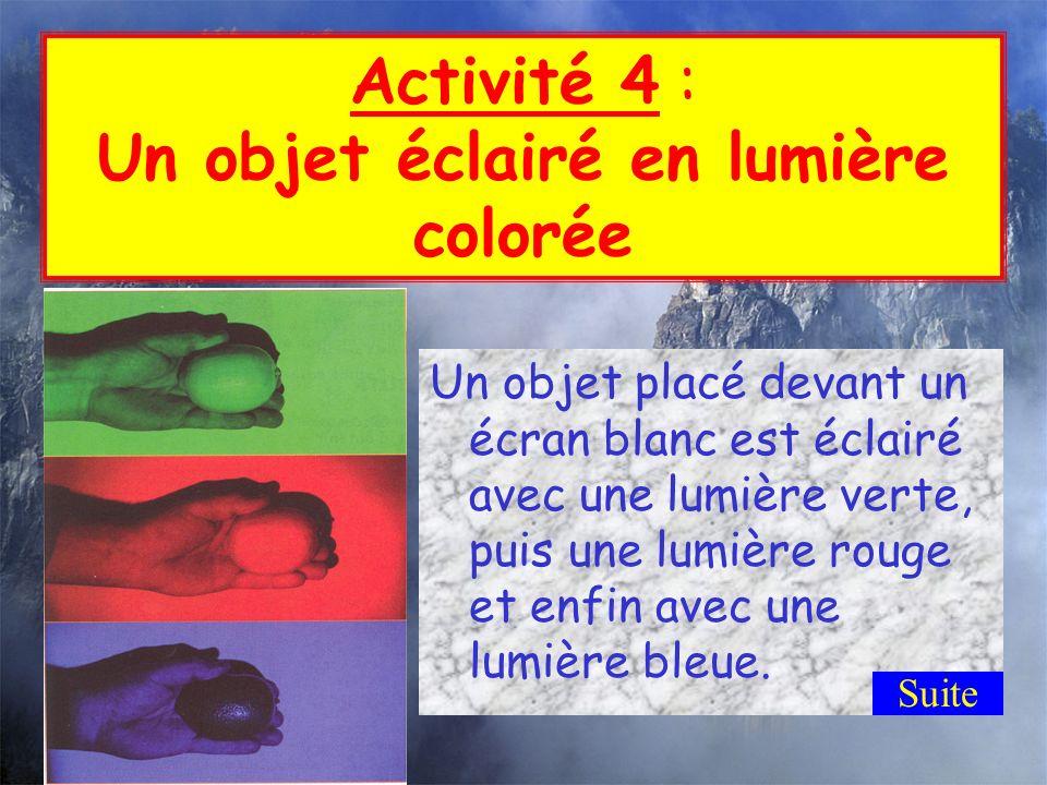 Jobserve : Complète le tableau suivant pour noter tes observations : Je conclus : - La lumière diffusée par un objet a-t-elle toujours la même couleur