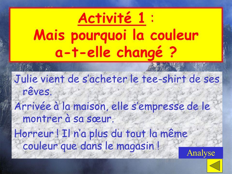 « Les marchands dactivités » (suite) Activité 1 : Mais pourquoi la couleur a-t- elle changé ?Activité 1 : Mais pourquoi la couleur a-t- elle changé ?