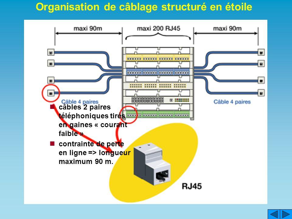Réaliser un câblage standardisé, de chaque point de bâtiment vers une baie de brassage prise RJ45 murale prise RJ 45 en baie de brassage Organisation