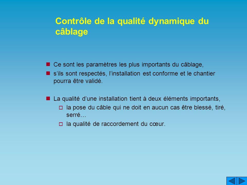 Contrôle de la qualité dynamique du câblage Ce sont les paramètres les plus importants du câblage, sils sont respectés, linstallation est conforme et le chantier pourra être validé.