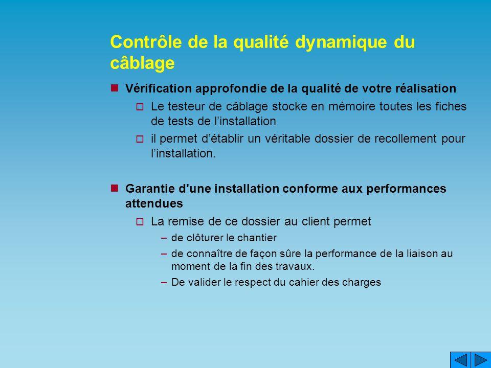 Contrôle de la qualité dynamique du câblage Vérification approfondie de la qualité de votre réalisation Le testeur de câblage stocke en mémoire toutes