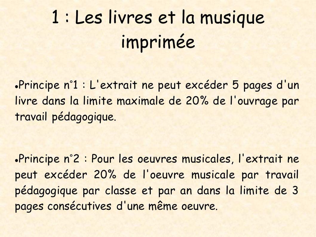 1 : Les livres et la musique imprimée Principe n°1 : L'extrait ne peut excéder 5 pages d'un livre dans la limite maximale de 20% de l'ouvrage par trav