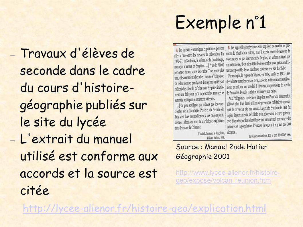 Exemple n°1 Travaux d'élèves de seconde dans le cadre du cours d'histoire- géographie publiés sur le site du lycée L'extrait du manuel utilisé est con
