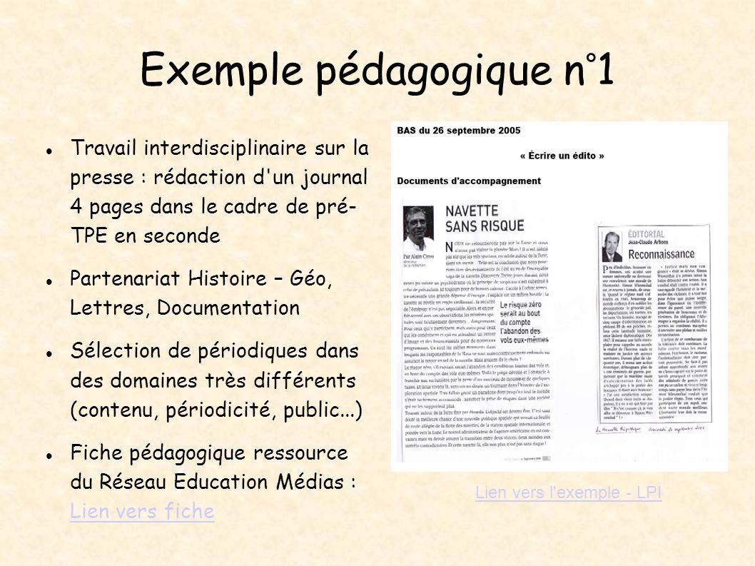 Travail interdisciplinaire sur la presse : rédaction d'un journal 4 pages dans le cadre de pré- TPE en seconde Partenariat Histoire – Géo, Lettres, Do